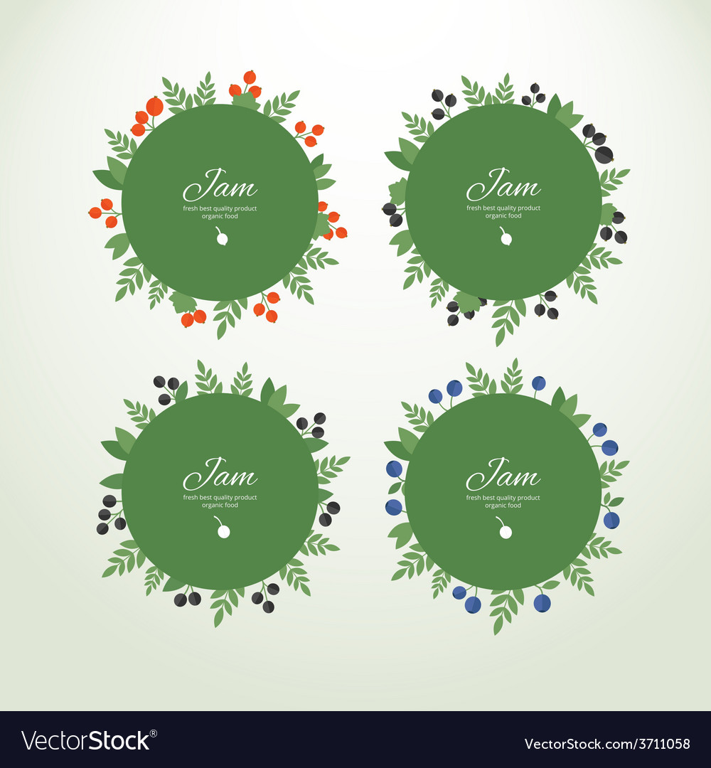Collection labels with fresh berries vector | Price: 1 Credit (USD $1)