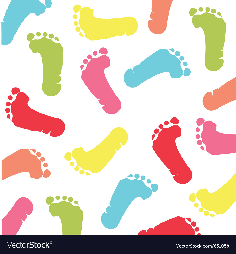 Colorful baby footprint vector | Price: 1 Credit (USD $1)