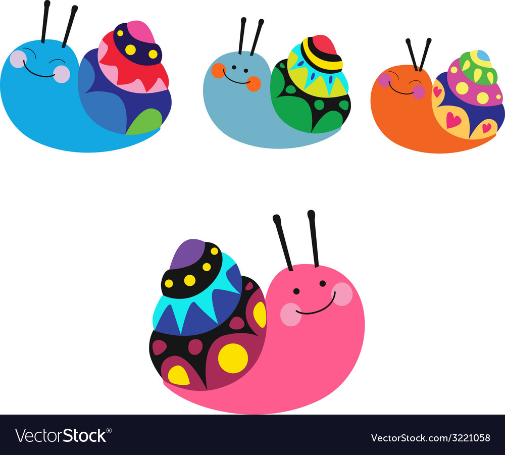 Cute color snails vector | Price: 1 Credit (USD $1)