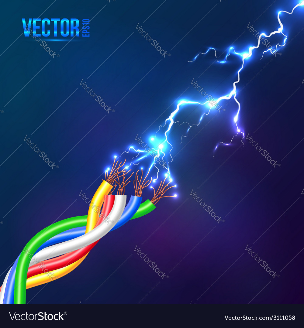 Electric lightning flash to colored cables vector | Price: 1 Credit (USD $1)