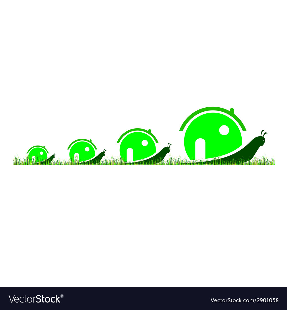Four snail in green color in the grass vector | Price: 1 Credit (USD $1)