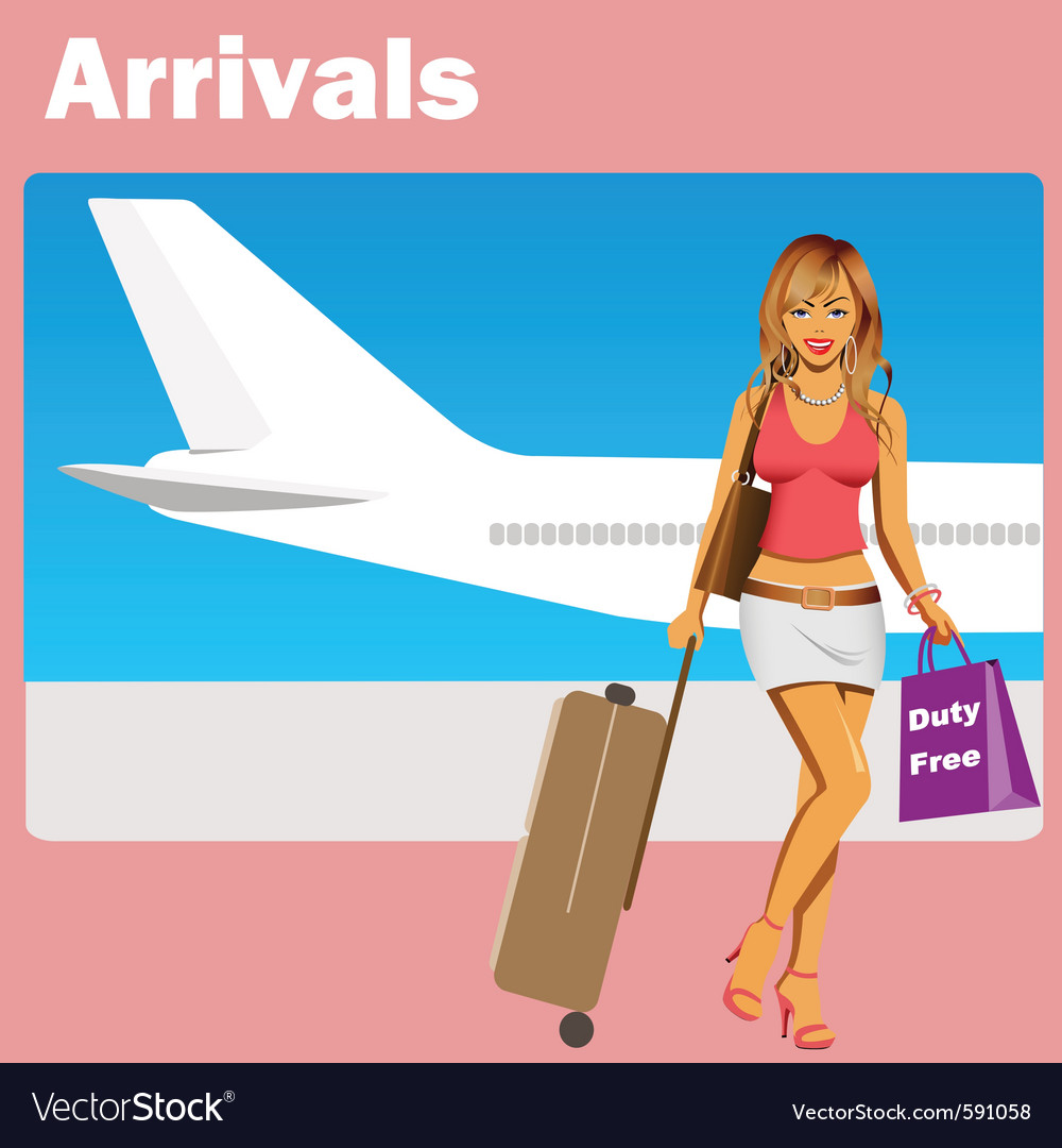 Girl at airport vector   Price: 3 Credit (USD $3)