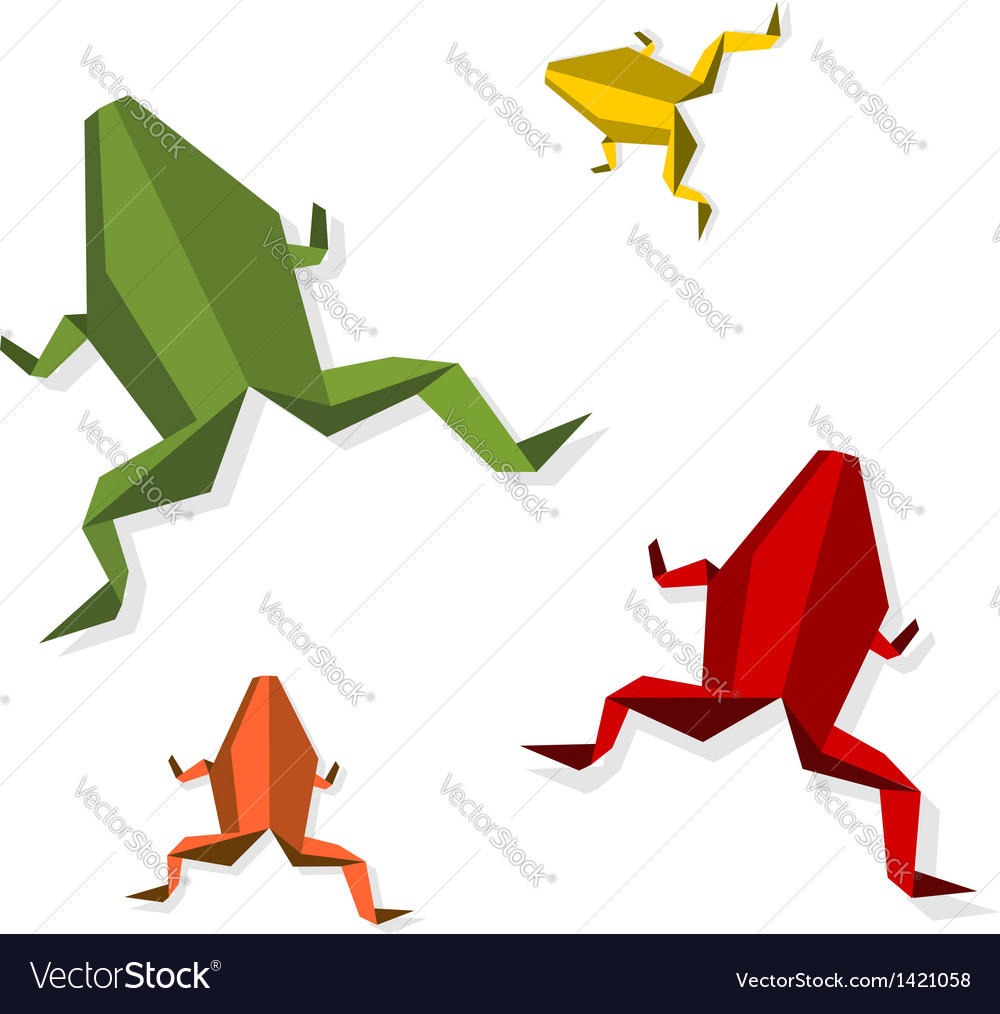 Group of various origami frog vector | Price: 1 Credit (USD $1)