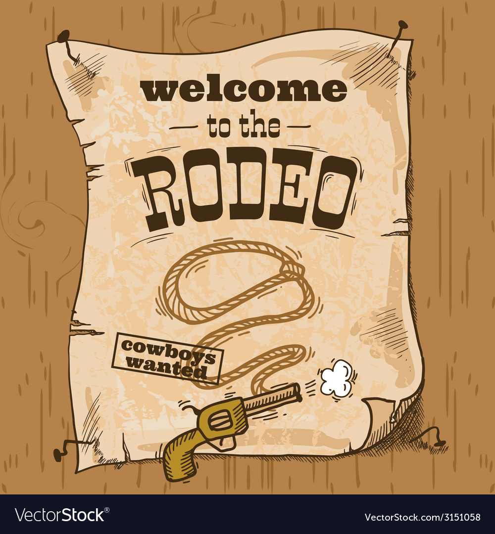 Rodeo retro poster vector | Price: 1 Credit (USD $1)