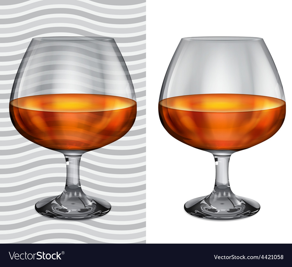 Transparent and opaque full brandy glasses vector | Price: 1 Credit (USD $1)