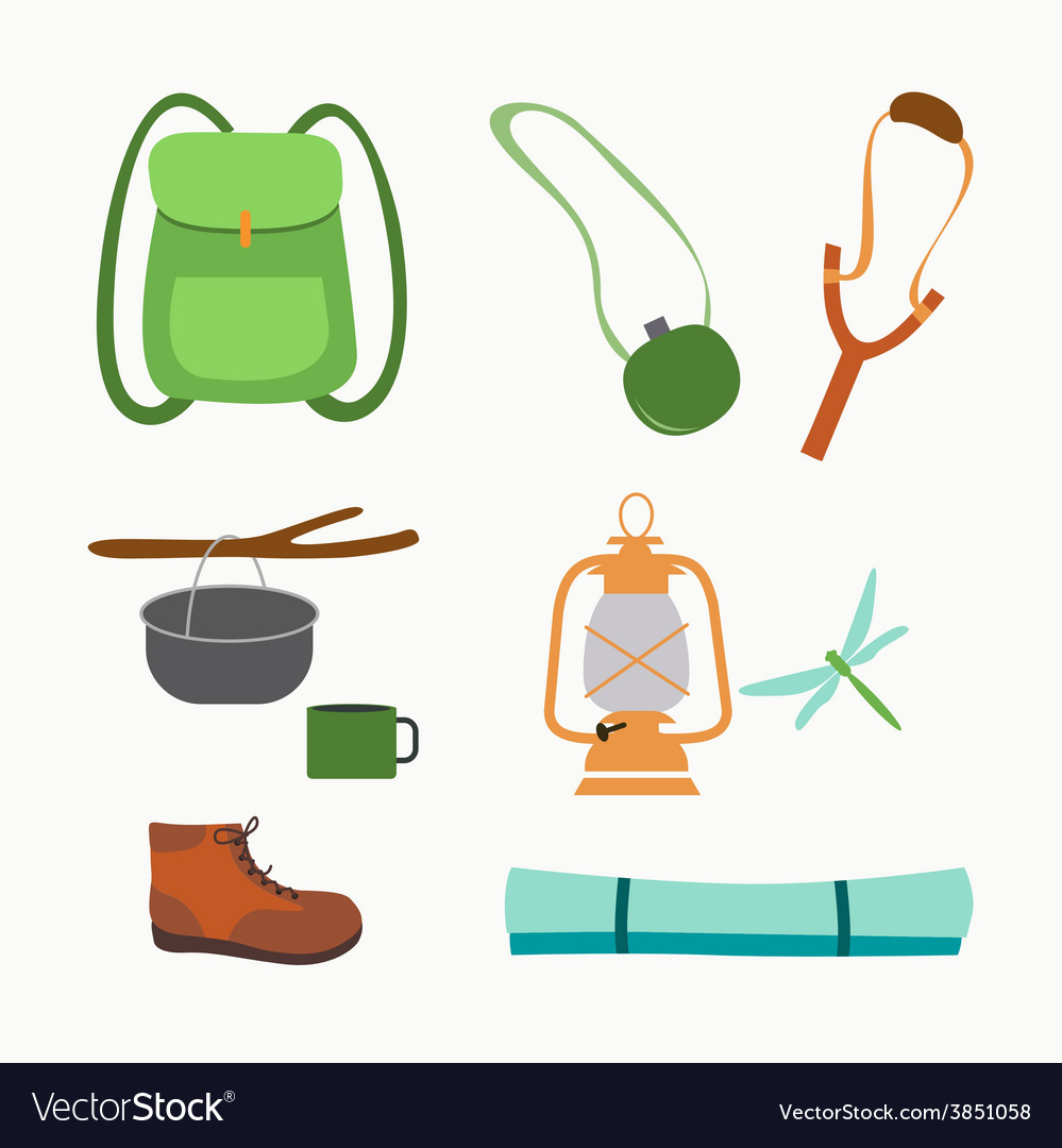 Trekking and camping icons vector | Price: 1 Credit (USD $1)