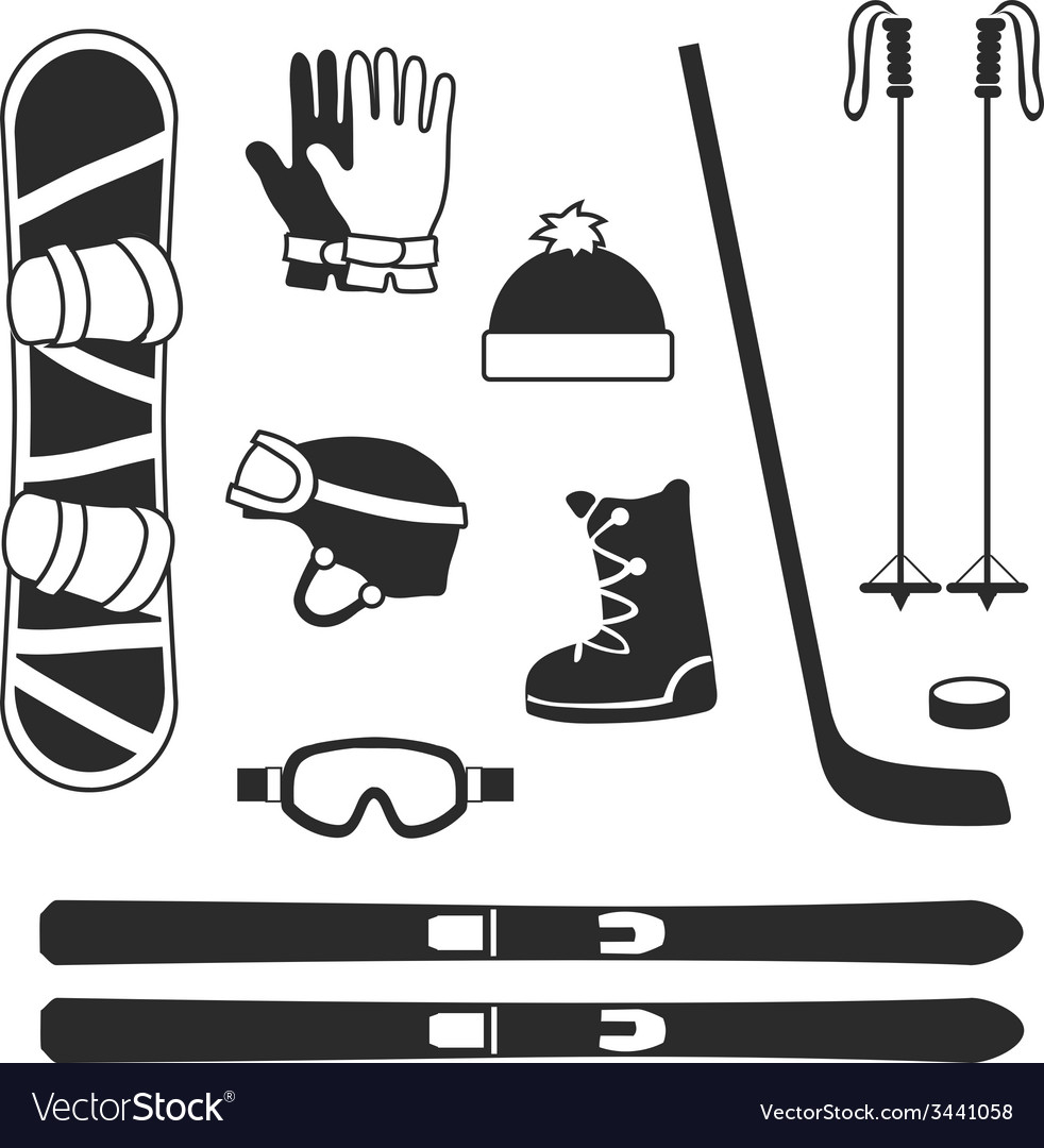 Winter sports equipment icons silhouettes vector | Price: 1 Credit (USD $1)