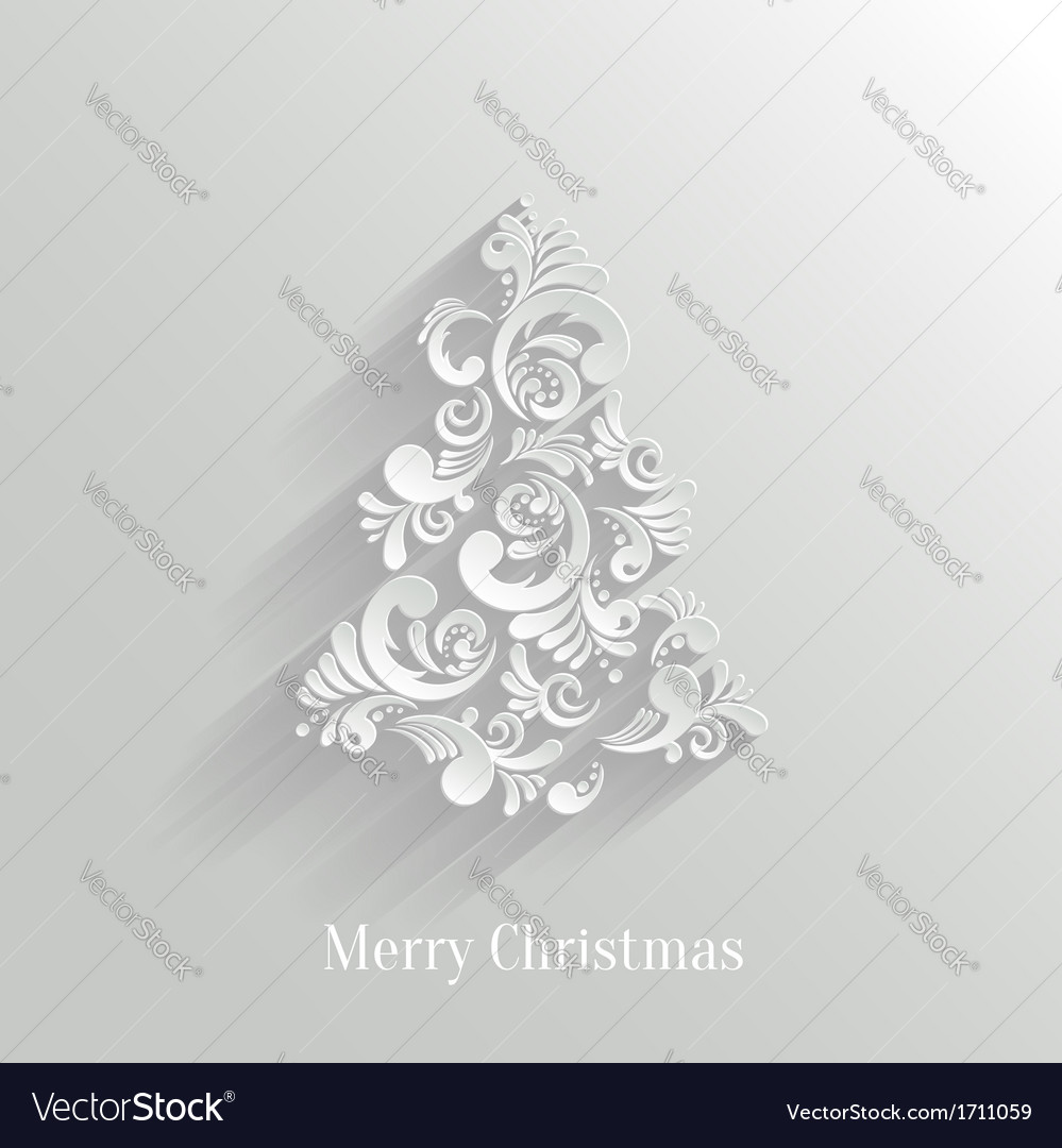 Absrtact floral christmas tree background trendy vector | Price: 1 Credit (USD $1)