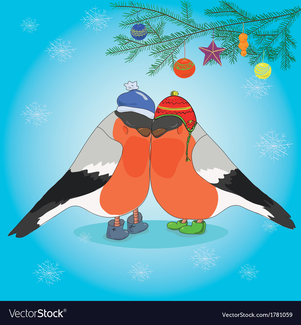Christmas background with bullfinches and spruce vector | Price: 1 Credit (USD $1)