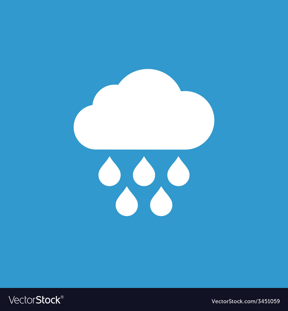Cloud rain icon white on the blue background vector | Price: 1 Credit (USD $1)