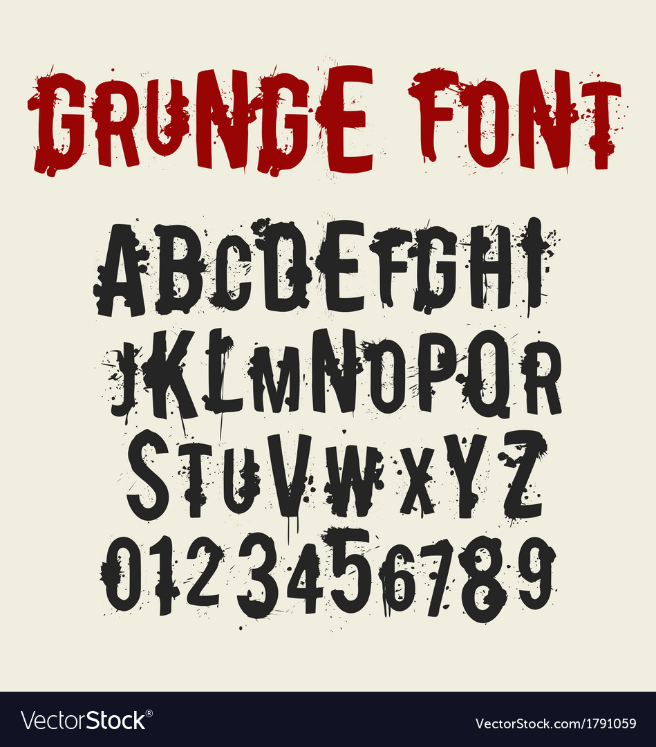Grunge style font set with ink stain effect vector | Price: 1 Credit (USD $1)