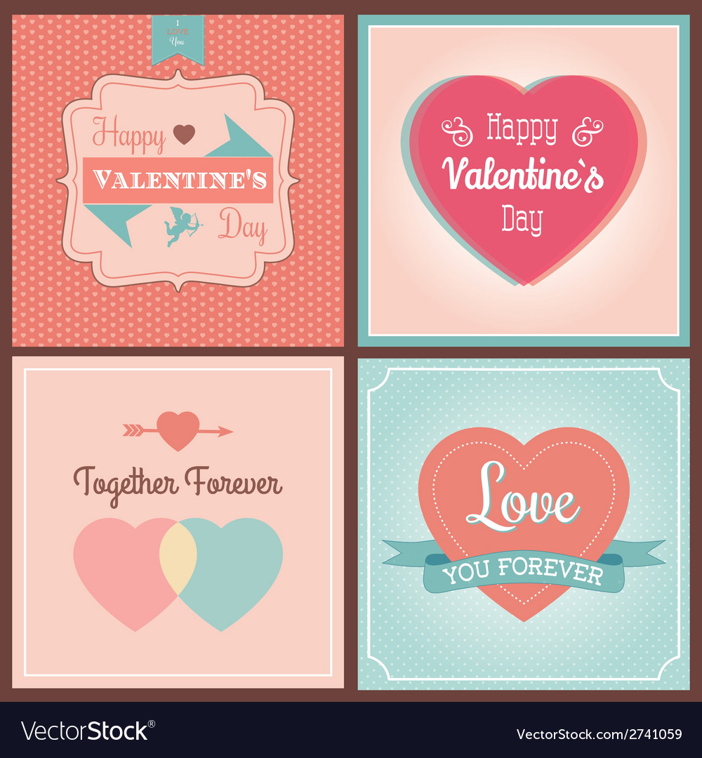 Happy valentines day card set vector | Price: 1 Credit (USD $1)