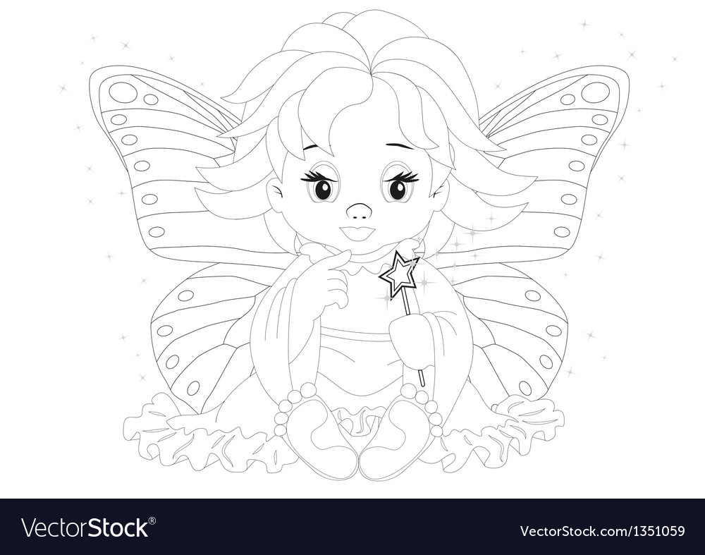 Magical fairy coloring page vector | Price: 1 Credit (USD $1)