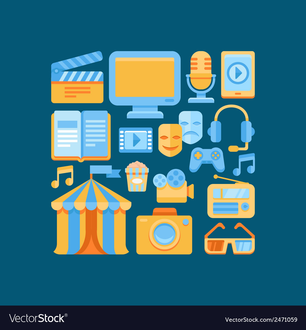 Media and entertainment concept in flat style vector | Price: 1 Credit (USD $1)