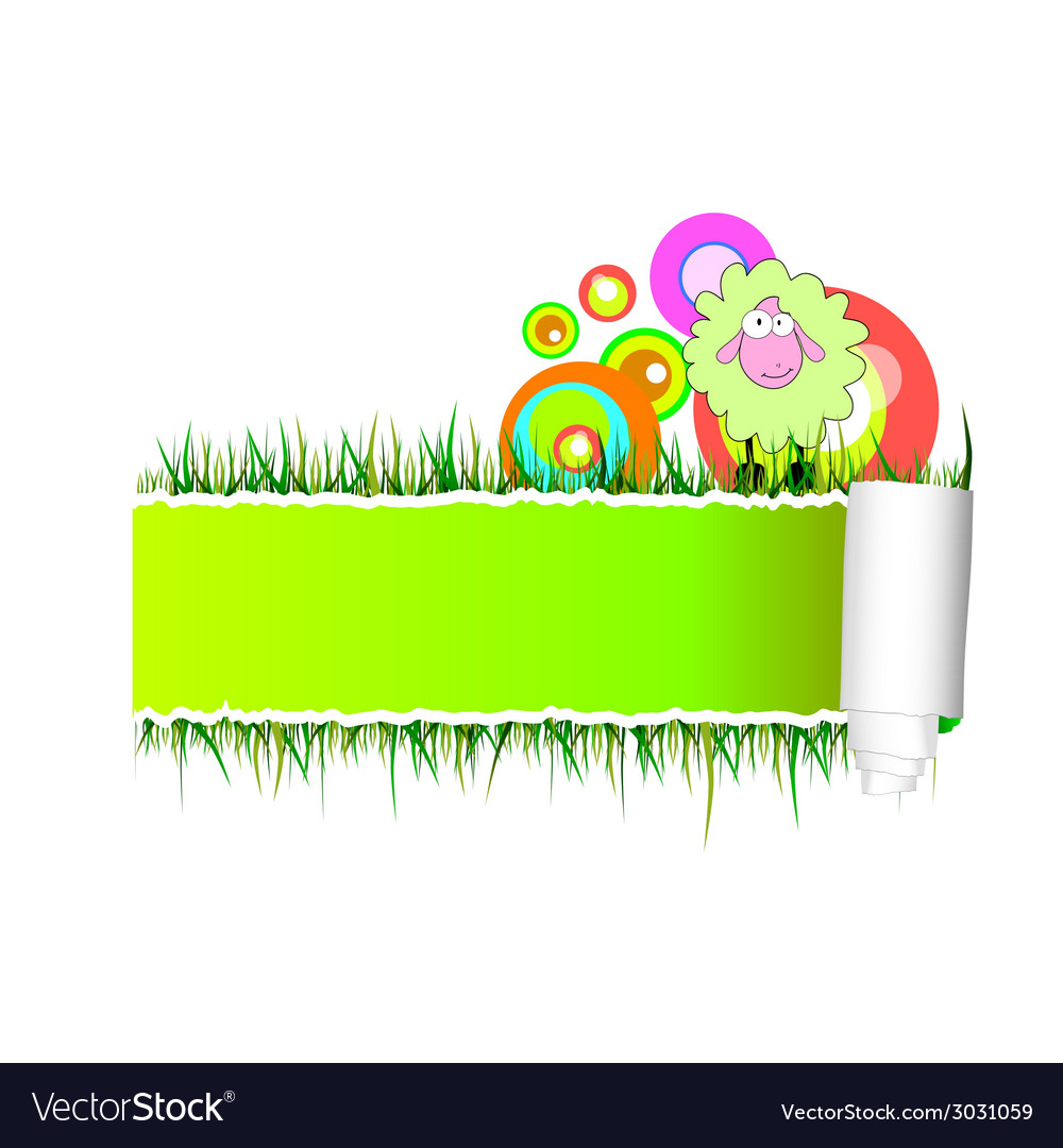Paper with green sheep vector | Price: 1 Credit (USD $1)