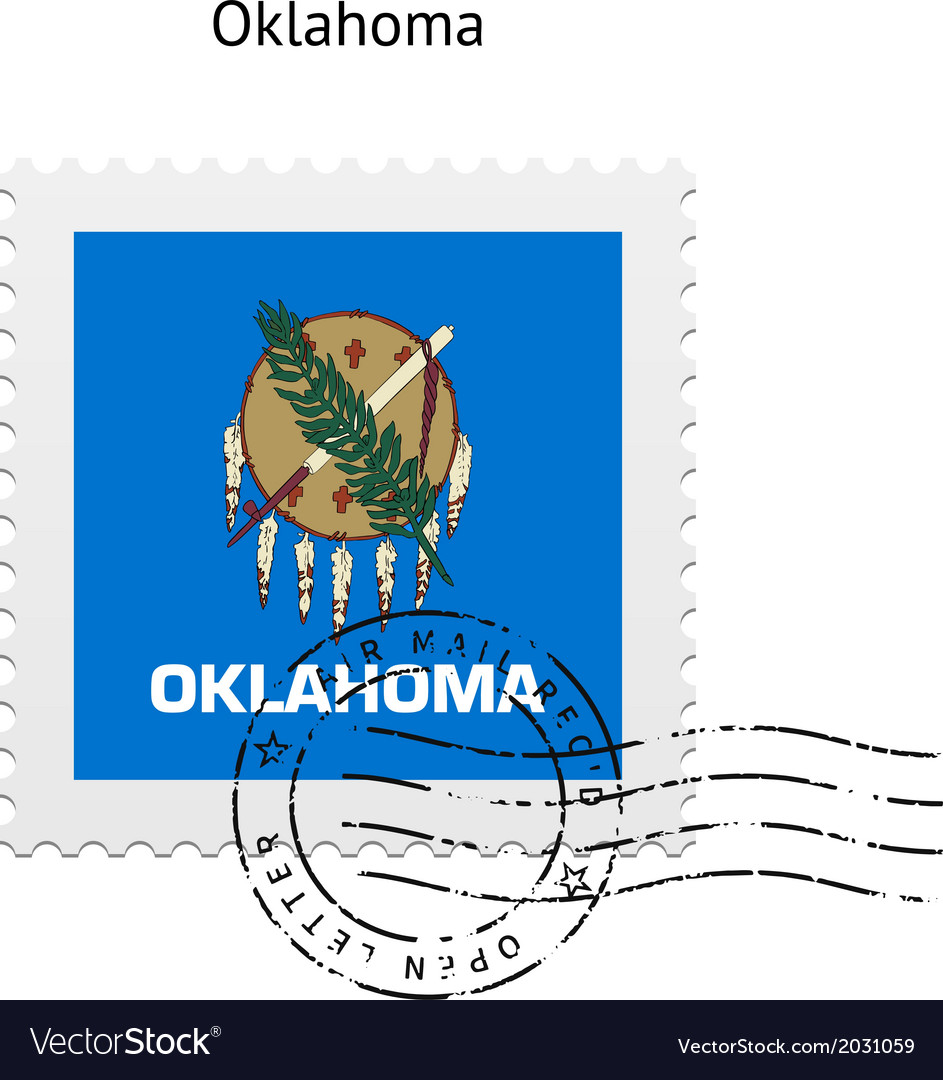 State of oklahoma flag postage stamp vector | Price: 1 Credit (USD $1)