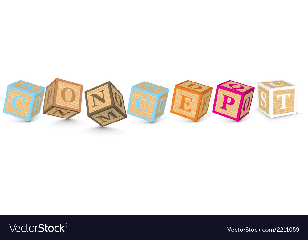 Word concept written with alphabet blocks vector | Price: 1 Credit (USD $1)