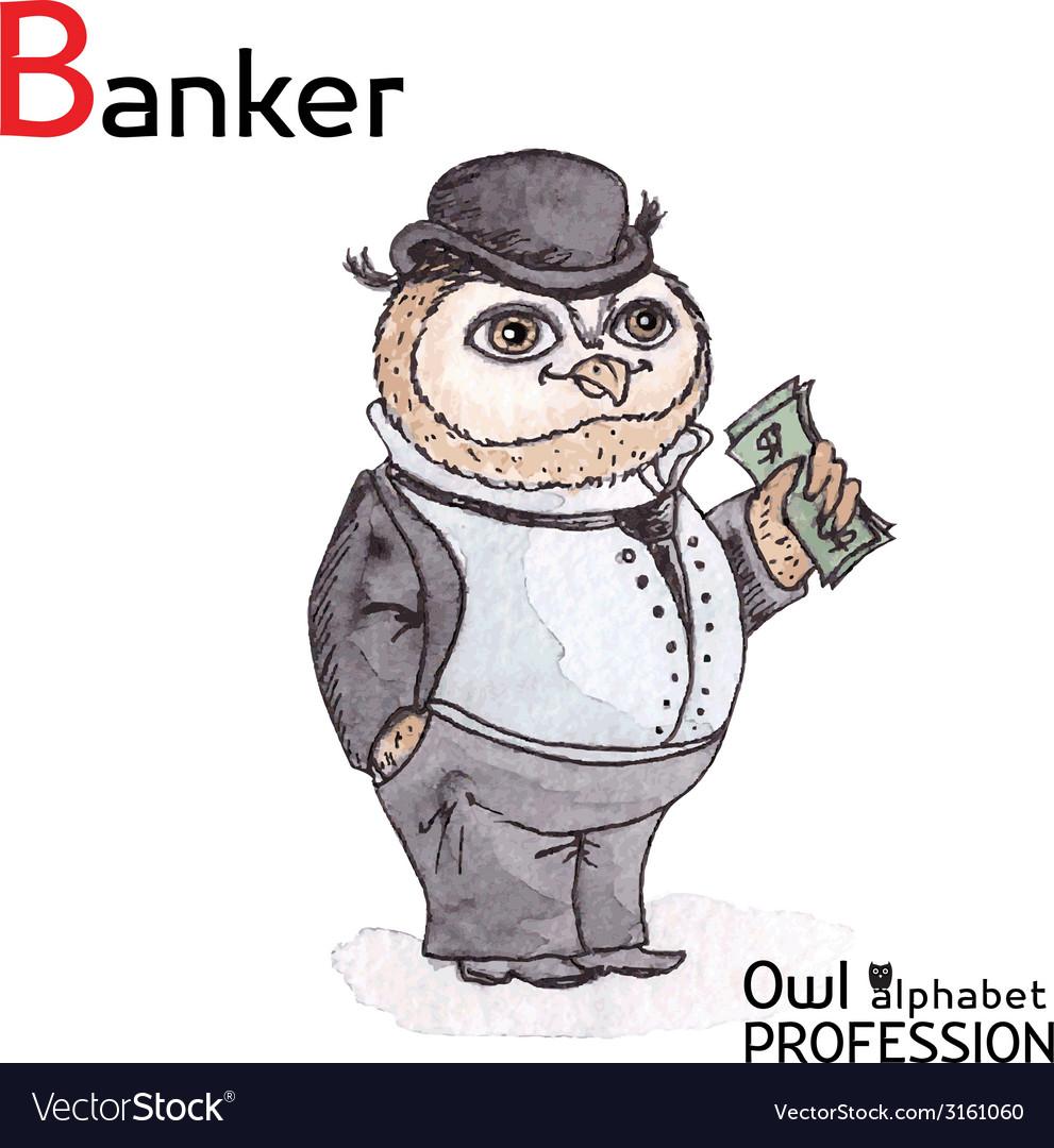 Alphabet professions owl letter b - banker vector | Price: 1 Credit (USD $1)