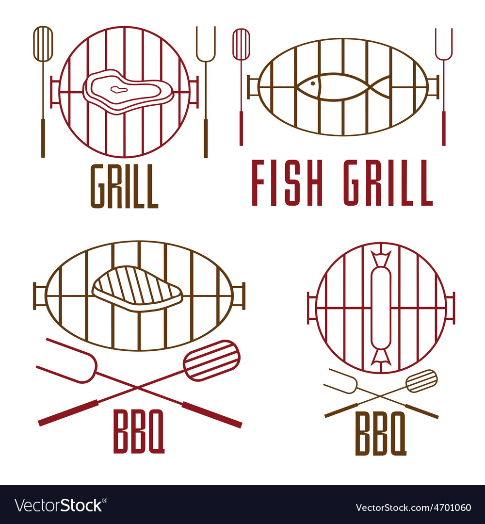 Bbq set and design elements vector | Price: 1 Credit (USD $1)