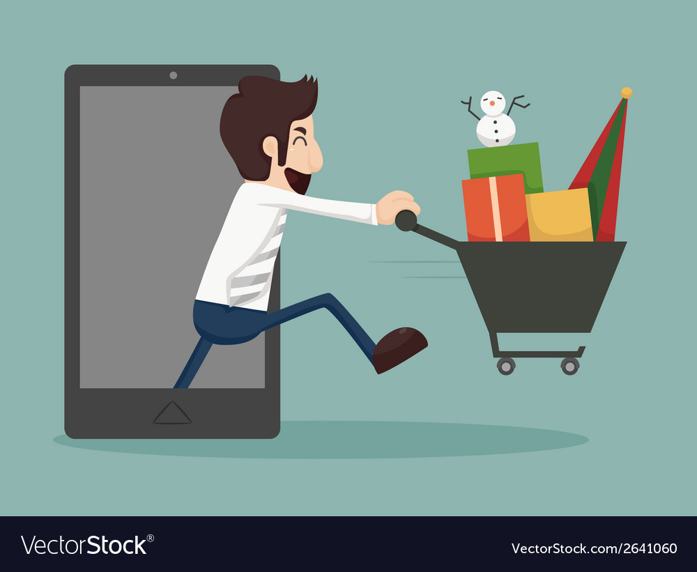 Businessman online shopping e-commerce concept vector | Price: 1 Credit (USD $1)
