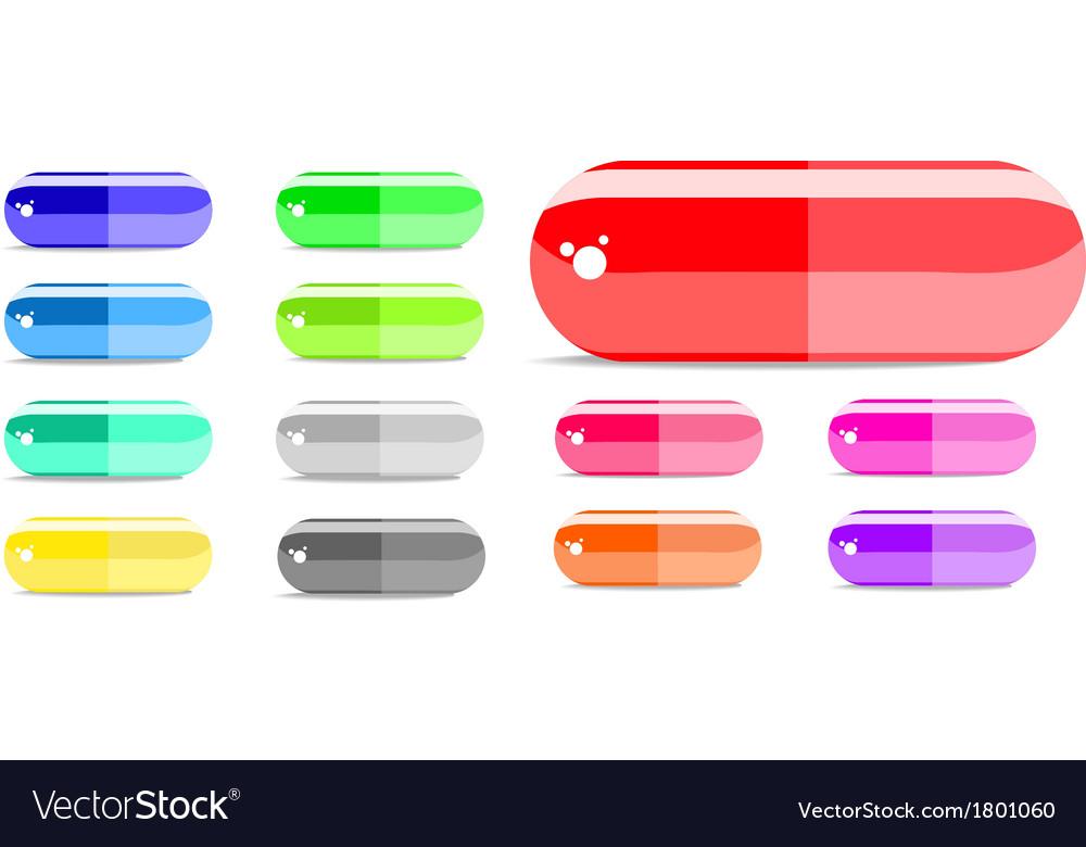 Colorful capsule icon set vector | Price: 1 Credit (USD $1)