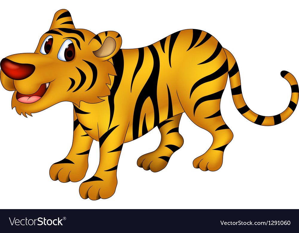 Cute tiger cartoon vector | Price: 1 Credit (USD $1)
