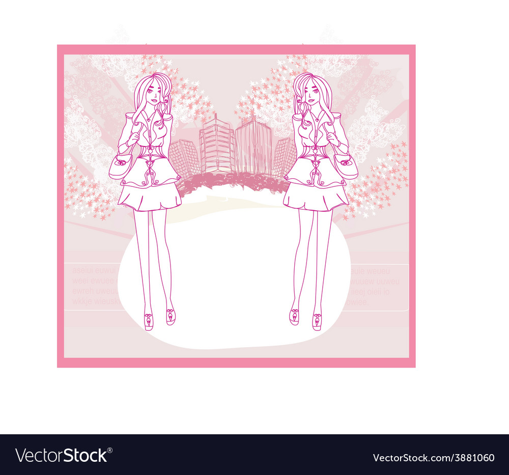 Doodle fashion girl shopping - abstract pink card vector | Price: 1 Credit (USD $1)