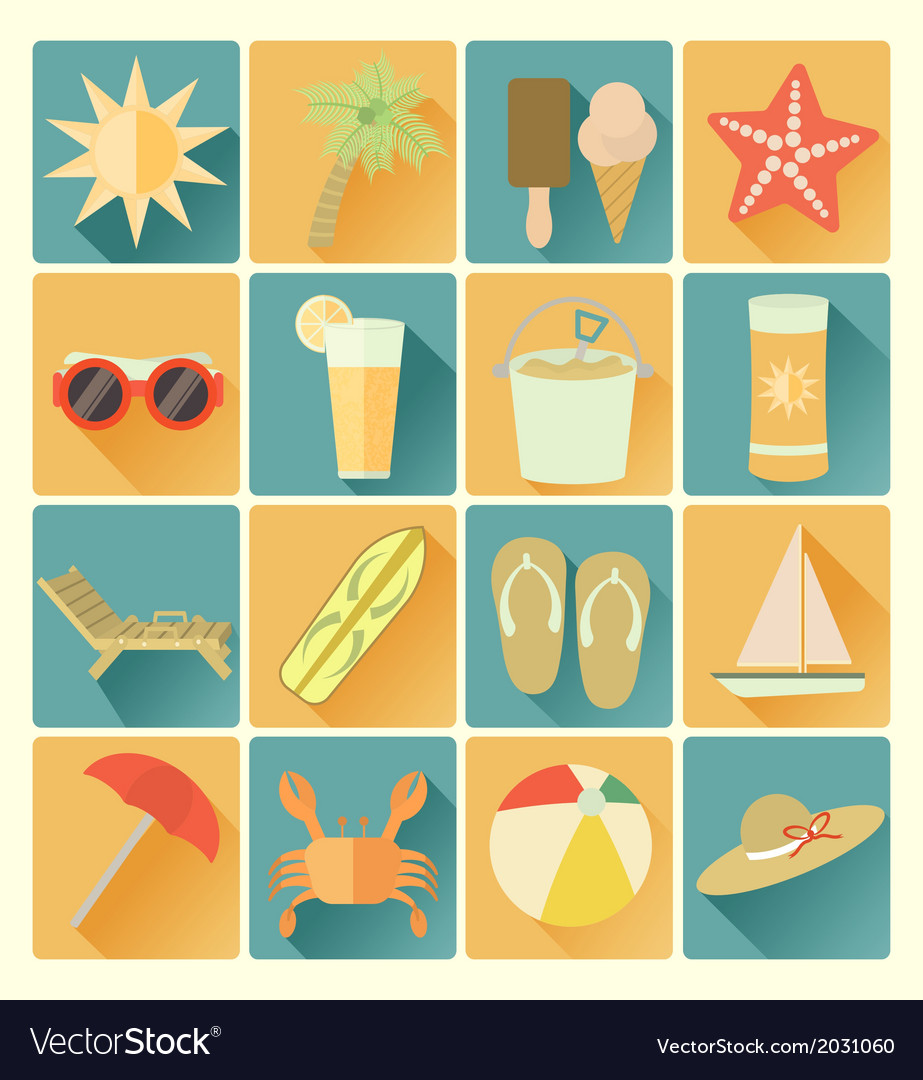 Flat icons summer beach vector | Price: 1 Credit (USD $1)