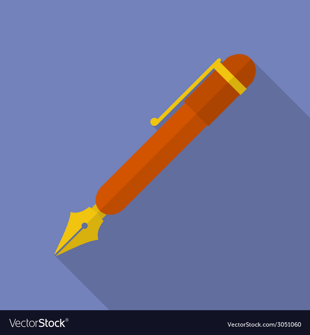 Fountain pen icon modern flat style with a long vector