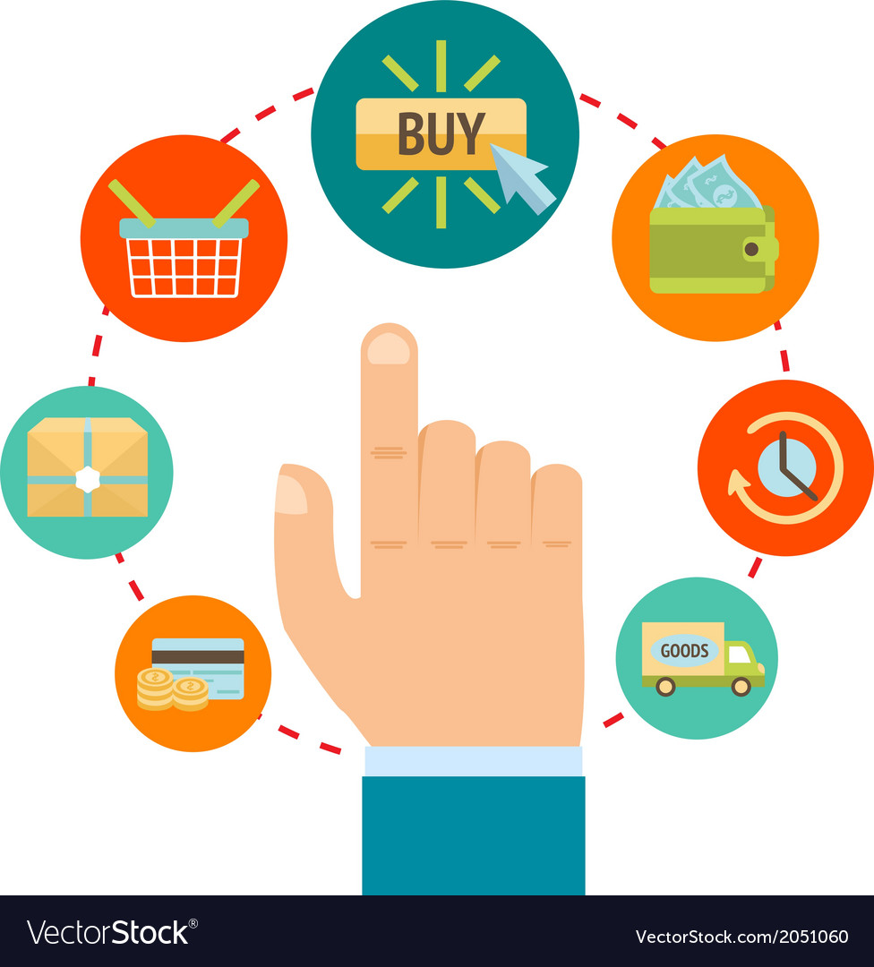 Hand with online shopping icons vector | Price: 1 Credit (USD $1)