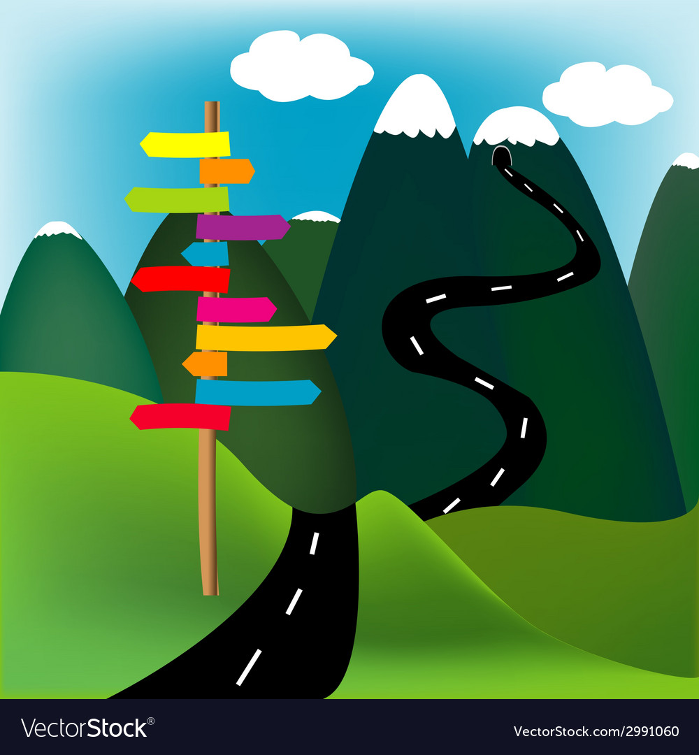 Mountain landscape with direction sign vector | Price: 1 Credit (USD $1)