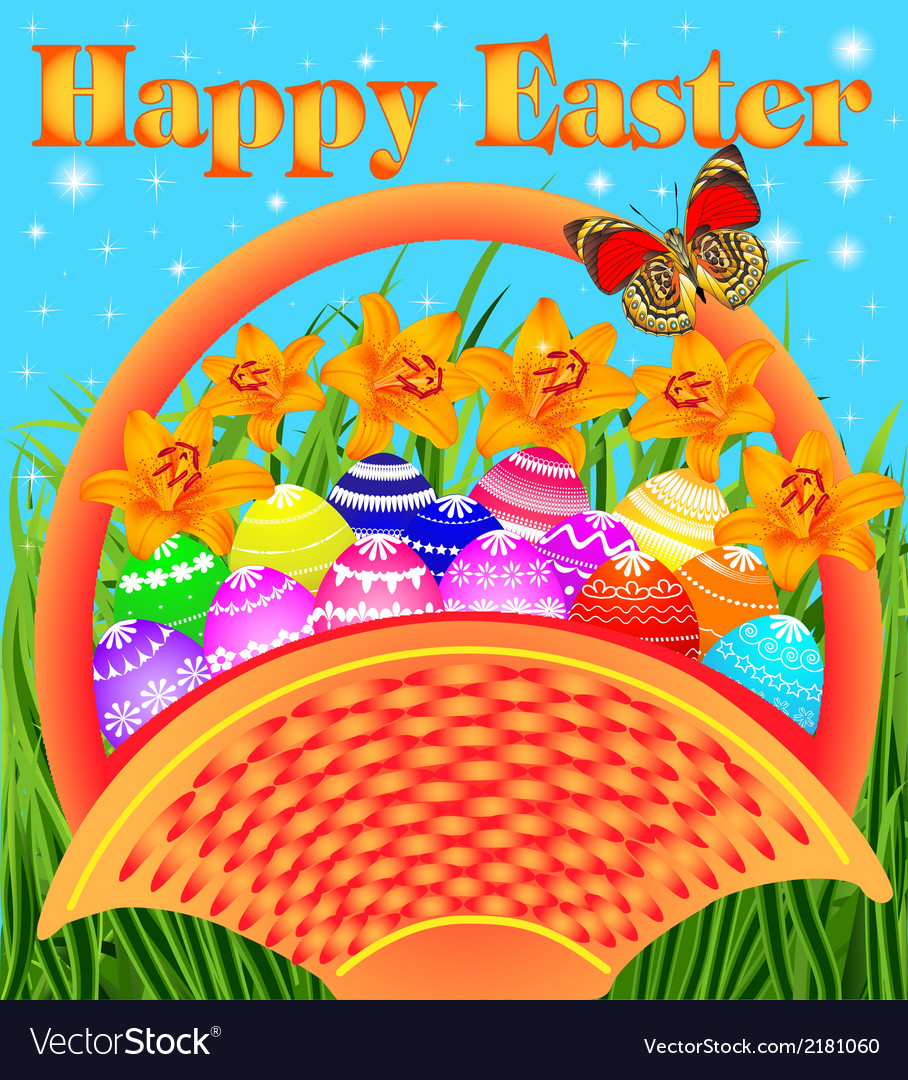 Postcard with easter eggs vector | Price: 1 Credit (USD $1)