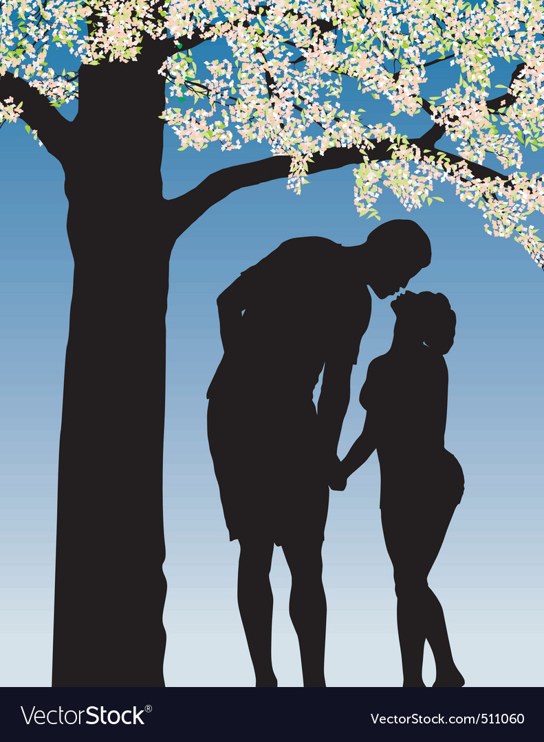 Tradition kiss under cherry bloom vector | Price: 1 Credit (USD $1)
