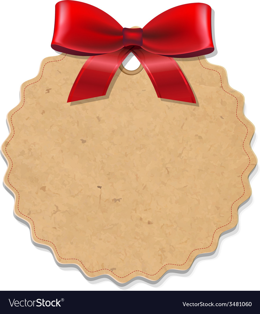 Xmas label with red bow vector | Price: 1 Credit (USD $1)