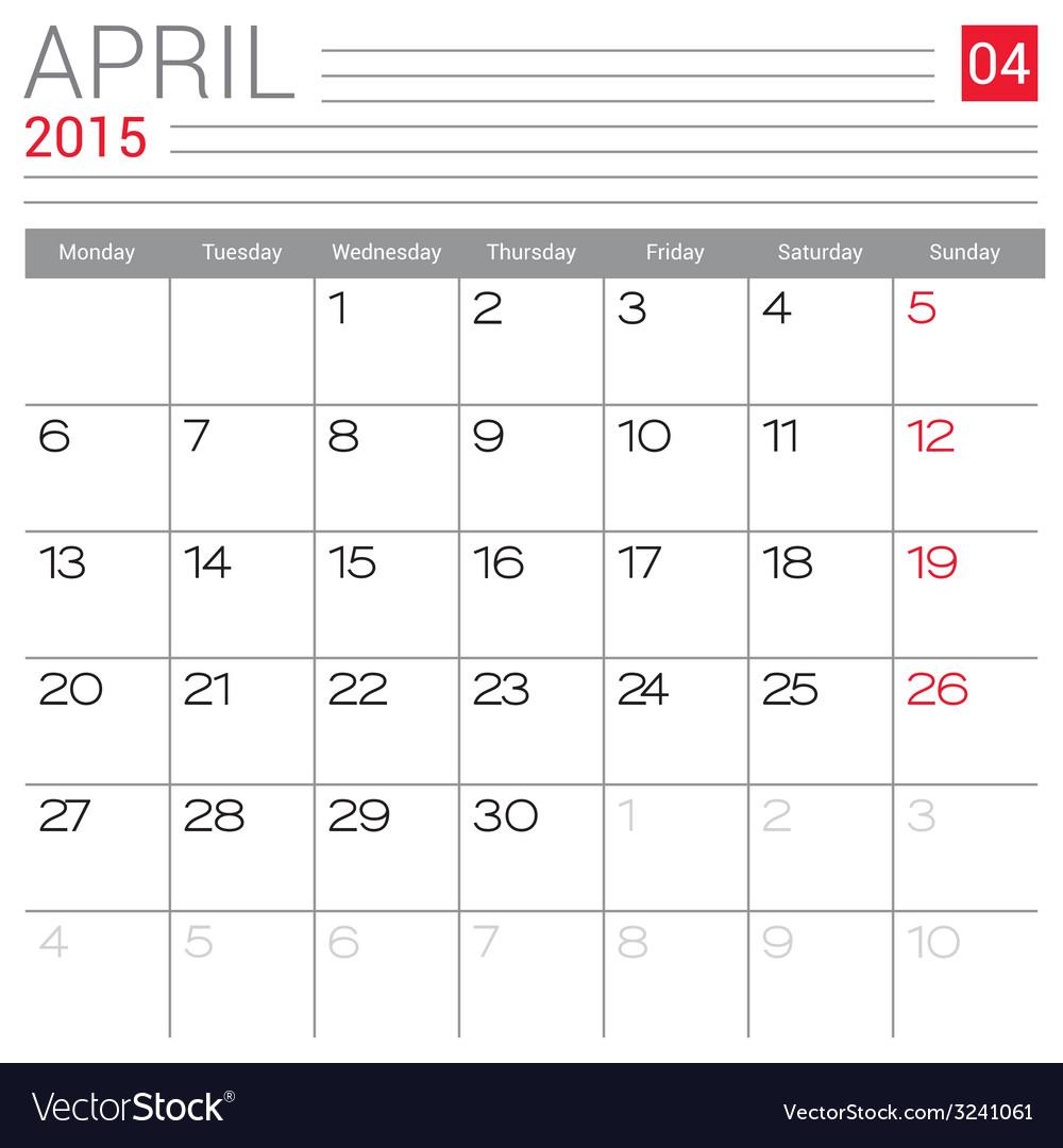 2015 april calendar page vector   Price: 1 Credit (USD $1)