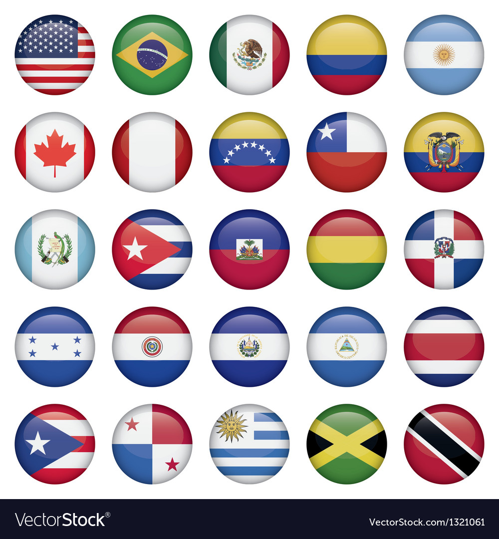 American flags round icons vector | Price: 1 Credit (USD $1)