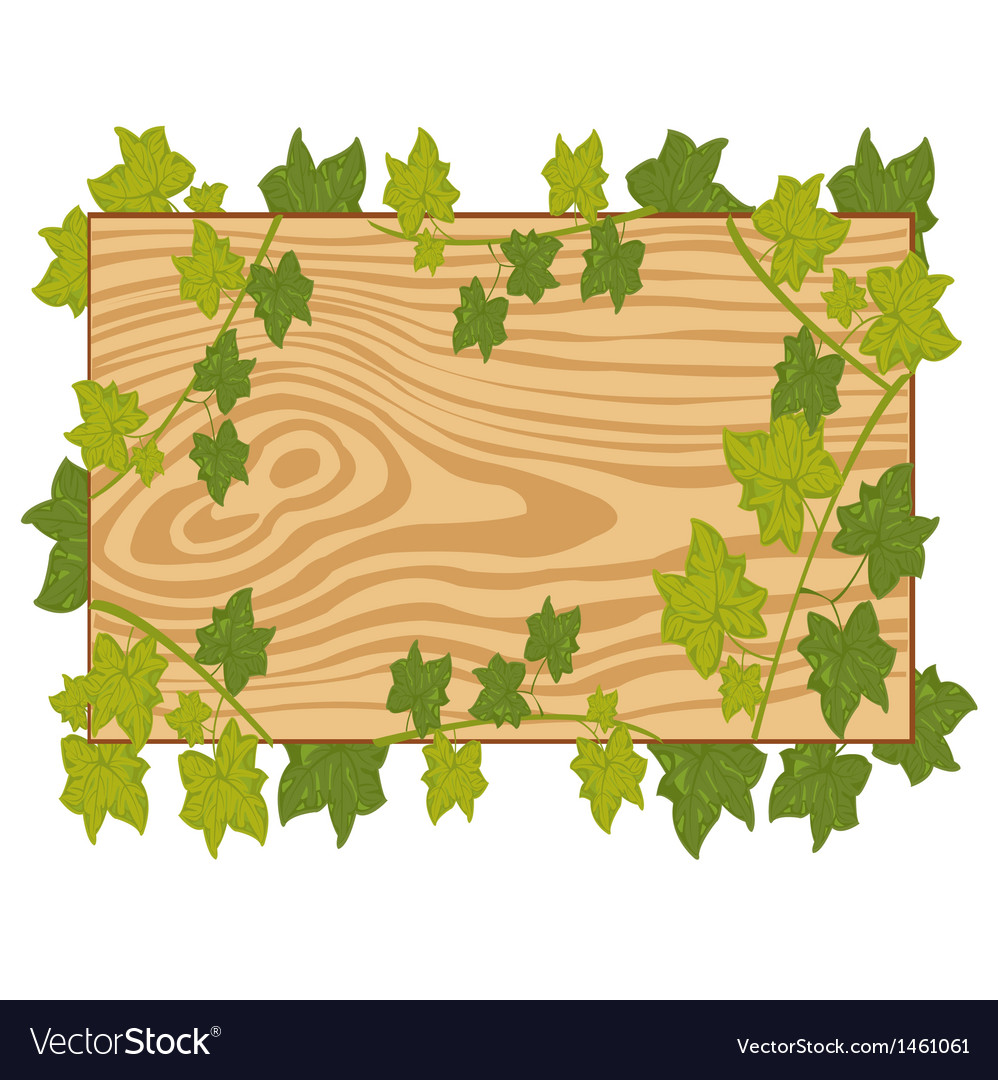 Board with foliage on white background vector | Price: 1 Credit (USD $1)