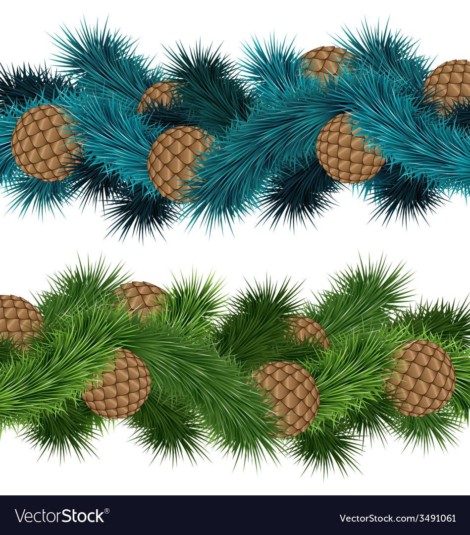 Conifers cones in pine branches vector   Price: 1 Credit (USD $1)