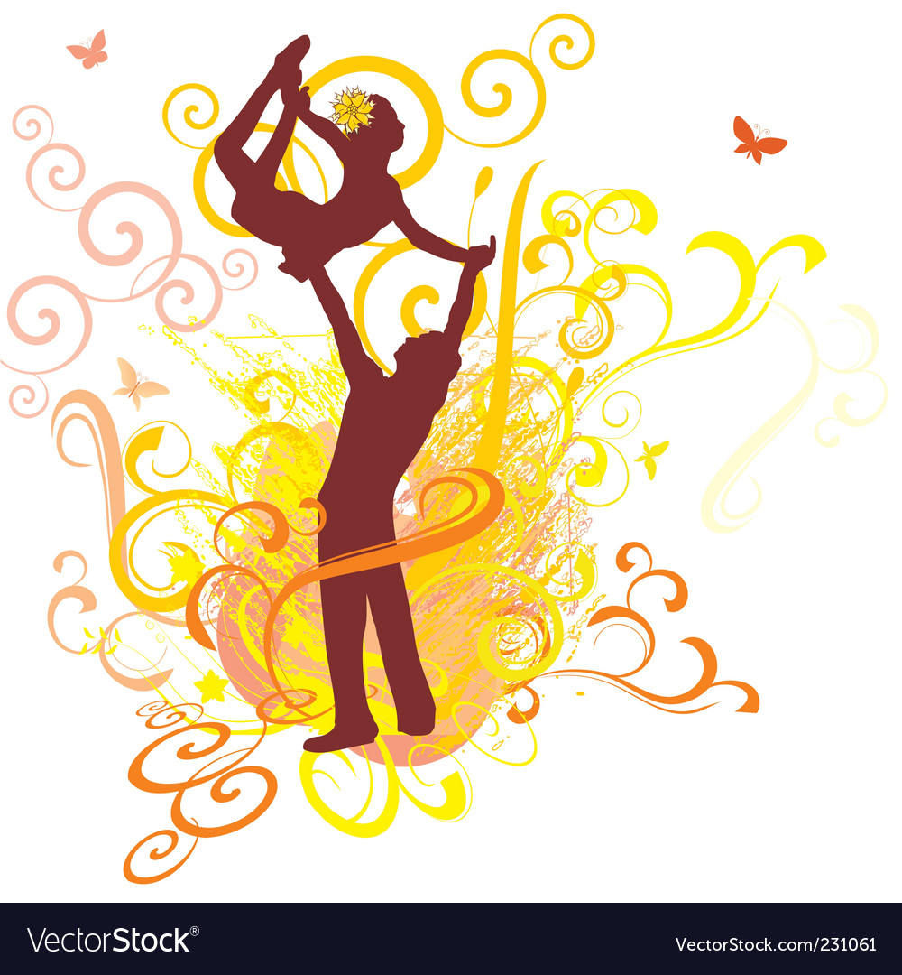 Dancing yellow sunshine couple vector | Price: 1 Credit (USD $1)