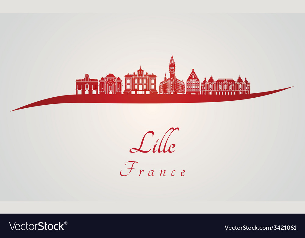 Lille skyline in red vector | Price: 1 Credit (USD $1)