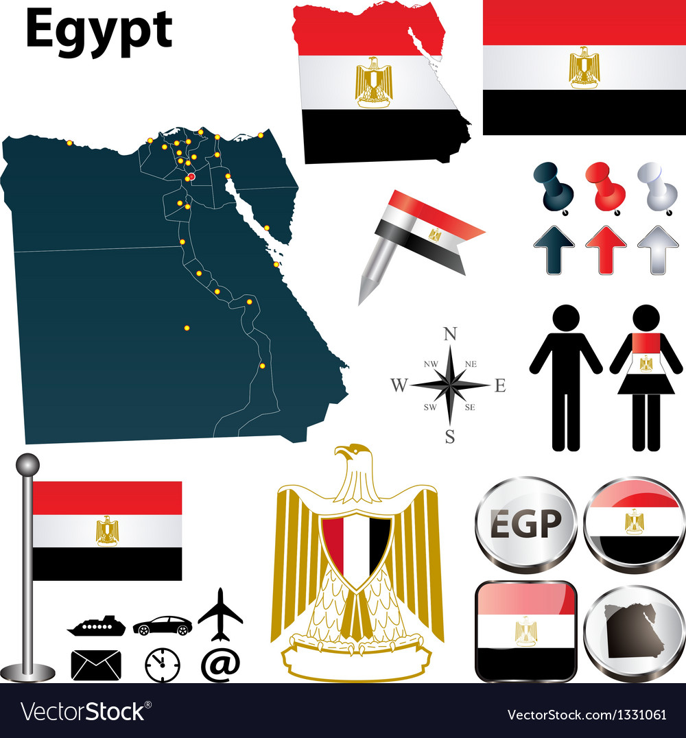 Map of egypt vector | Price: 1 Credit (USD $1)