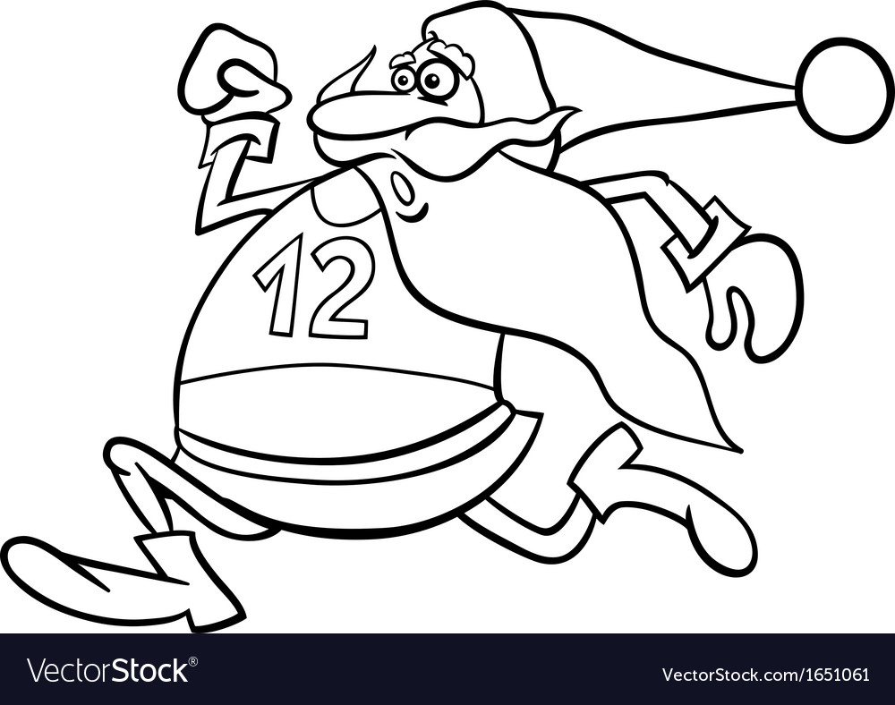 Running santa cartoon coloring page vector | Price: 1 Credit (USD $1)