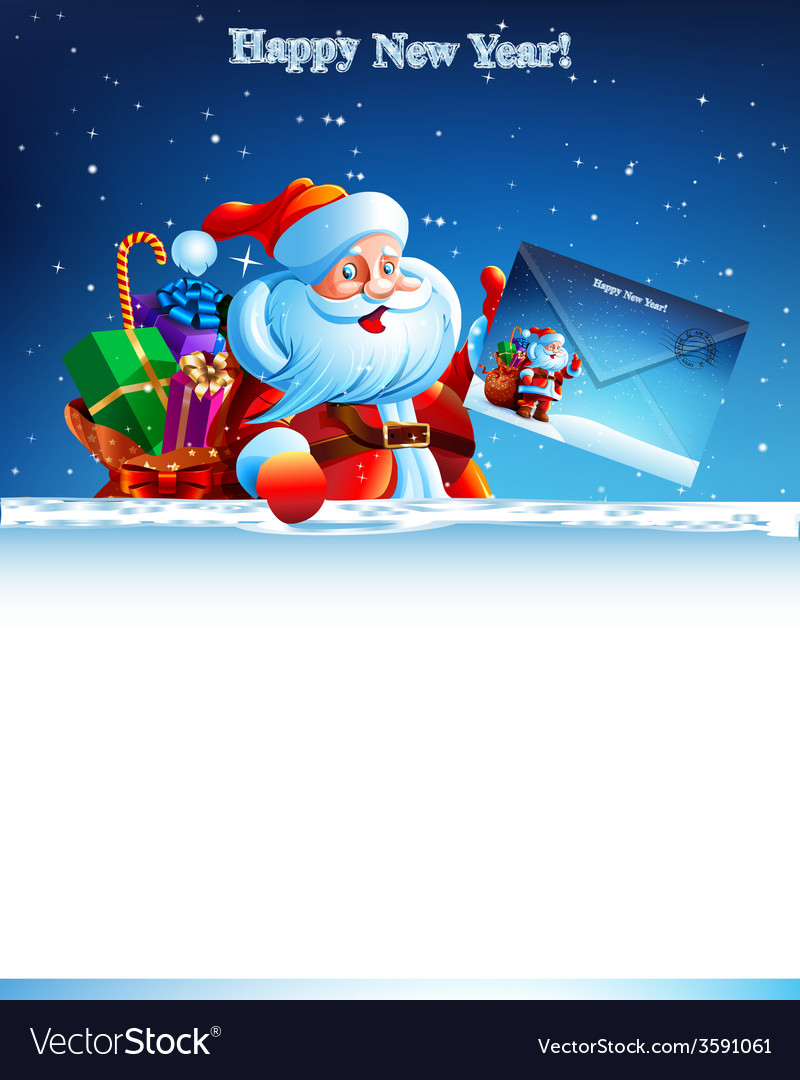 Santa claus with a bag of gifts holding an vector   Price: 5 Credit (USD $5)