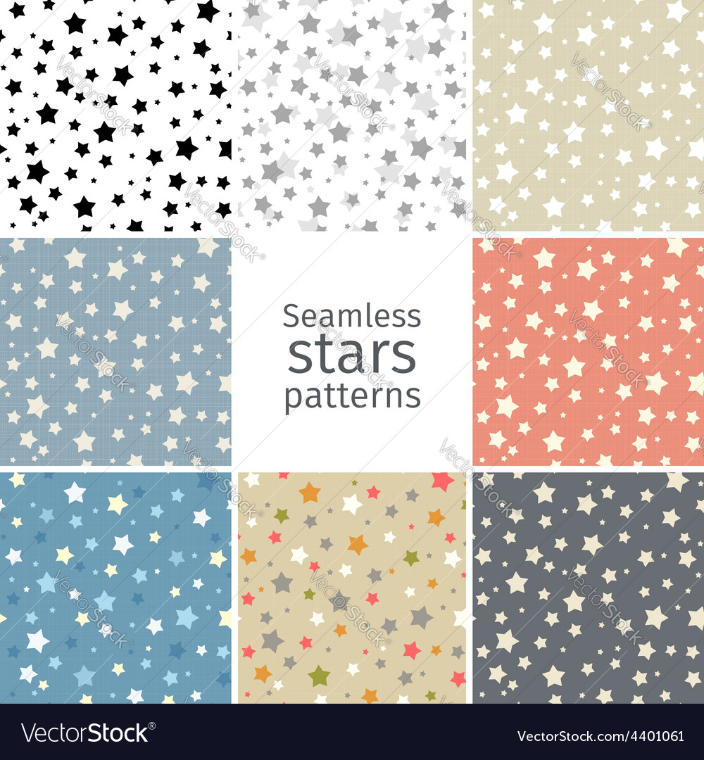 Set of 8 seamless stars patterns vector | Price: 1 Credit (USD $1)