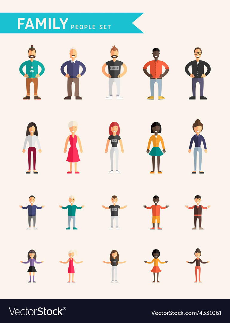 Set of flat design family people parents and vector | Price: 1 Credit (USD $1)