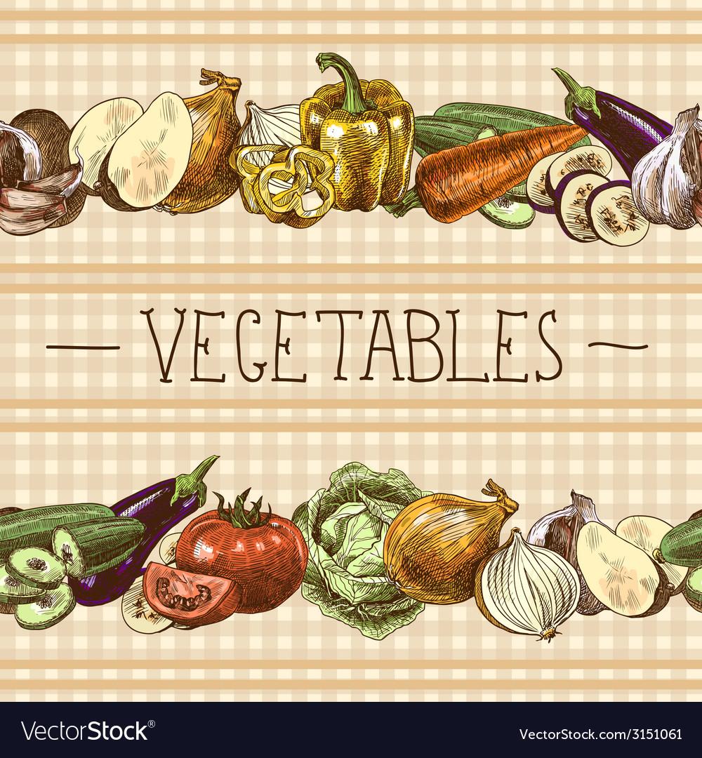 Vegetables seamless pattern border vector