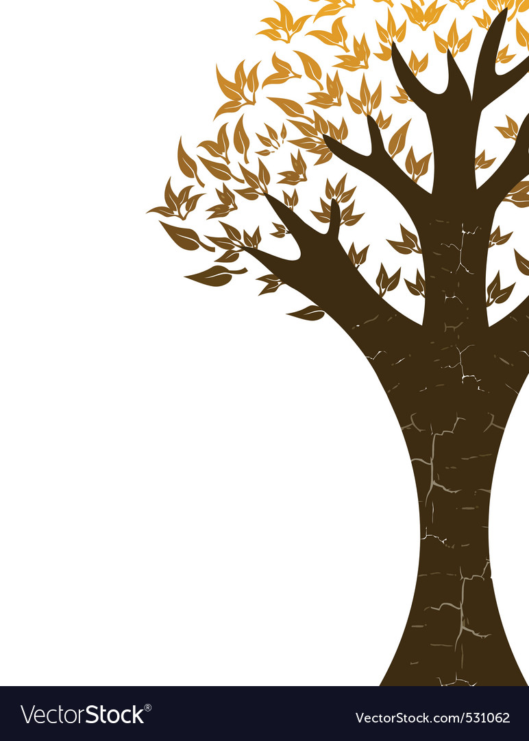 Abstract tree with golden leaves on white backgrou vector | Price: 1 Credit (USD $1)