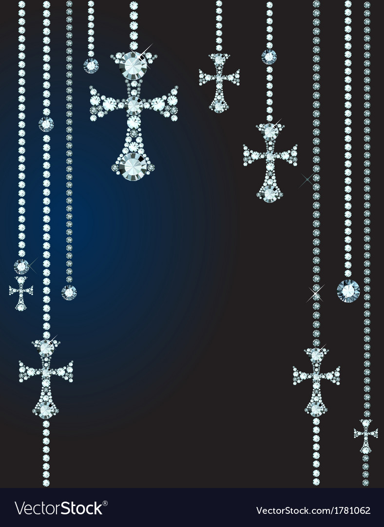 Background with gems and diamond crosses vector | Price: 1 Credit (USD $1)