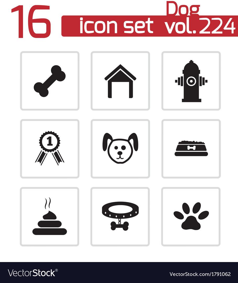 Black dog icons set vector | Price: 1 Credit (USD $1)