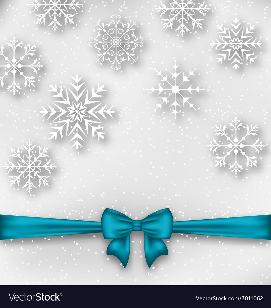 Christmas wrapping with bow ribbon and snowflakes vector | Price: 1 Credit (USD $1)